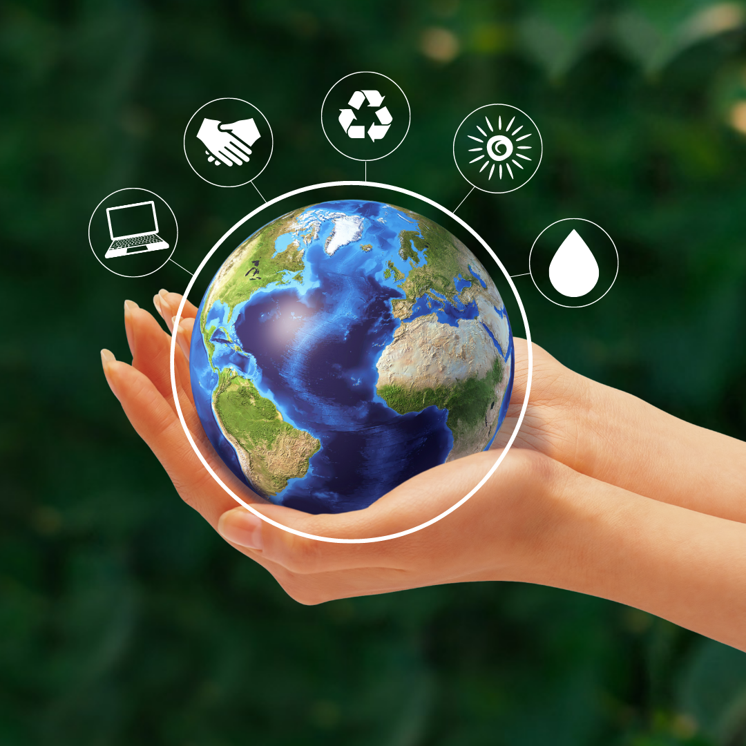 Holding the earth with Icons showing energy, water, waste and IT solutions